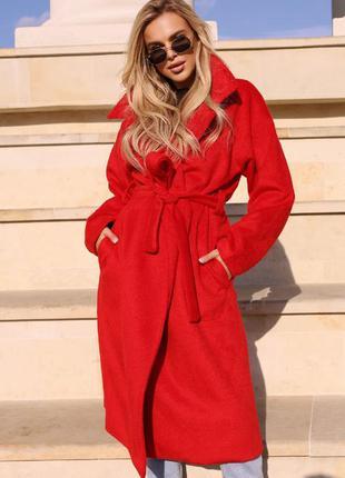Пальто оверсайз красное кашемир женское