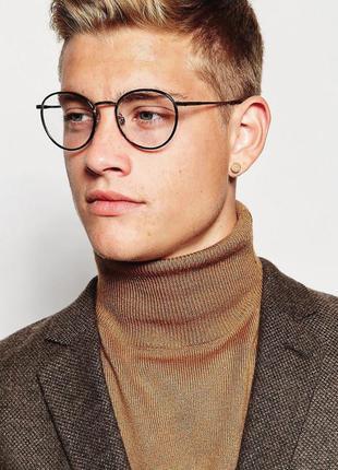 Имиджевые очки мужские нулевки формы неправильный круг оправа