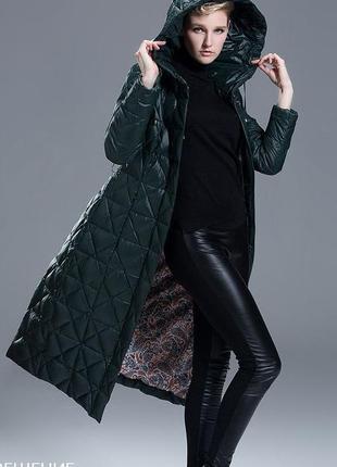S (42) роскошный  длинный зимний пуховик пальто 90% утиный пух...