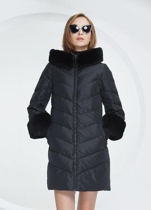L( 46/48) роскошный стильный пуховик пальто 90% пух basic vogue