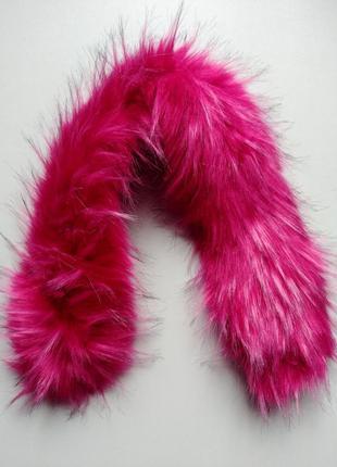 Воротник опушка 58 см на капюшон воротник мех широкий розовый