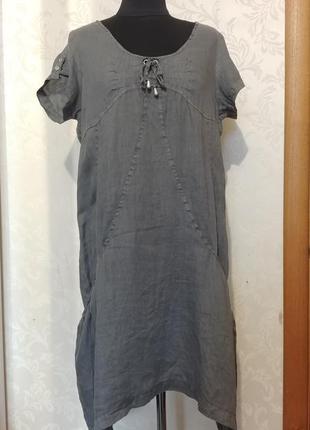 Италия льняное платье сарафан хаки тауп кокон боченок бохо этно