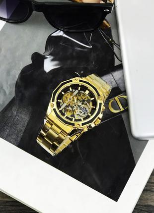 Наручные часы Forsining 8130 Gold-Black Наручні часи, годинник