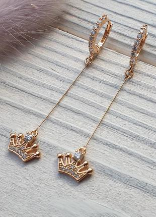 """Позолоченные серьги висюльки с камнями  """"корона"""" 18к xuping. м..."""