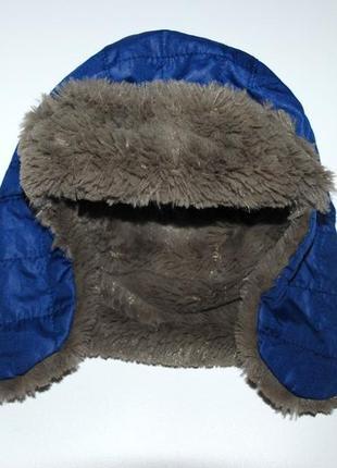 Демисезонная стильная шапка ушанка на мальчика  3-6 лет miniclub