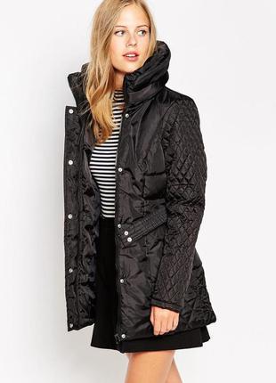 Длинная стеганая куртка пальто