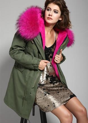 Шикарная зимняя парка куртка с натуральным мехом енота и подст...
