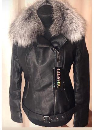 Женская кожаная куртка с чернобуркой,куртка с м  ехом, s-2хл