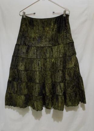 Новая юбка изумрудно-золотая велюр *carola vantini* италия 48-50р