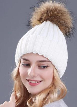 Шапка бини женская зимняя вязаная теплая с меховым помпоном бе...