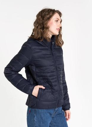 Новая женская демисезонная тёплая синяя куртка с капюшоном