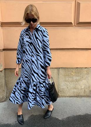 Платье миди в принт zara original