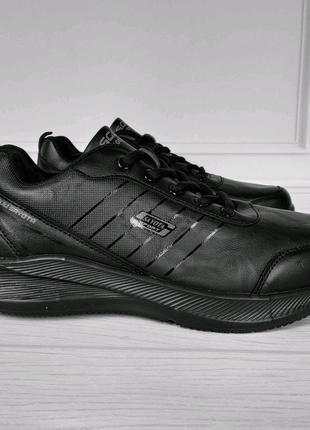 Кроссовки мужские черные эко кожа Обувь мужская Кросівки чоловічі