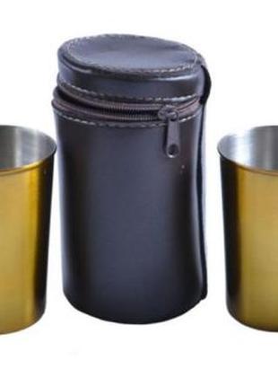 Рюмки из нержавеющей стали в кожаном чехле (Золото, 4 шт)