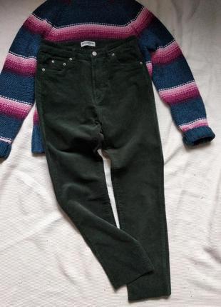 Вельветовые брюки джинсы штаны укороченные с высокой посадкой