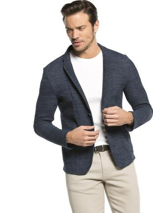 Мужской пиджак серо-синий lc waikiki / лс вайкики с накладными...