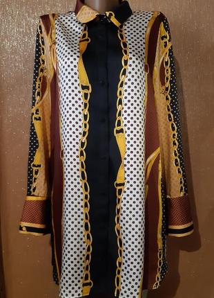 Блузка рубашка принт в стиле версачи размер 10-12  zara
