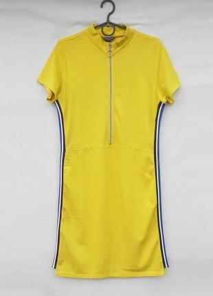 Трикотажное молодежное спортивное платье из вискозы на  молнии...