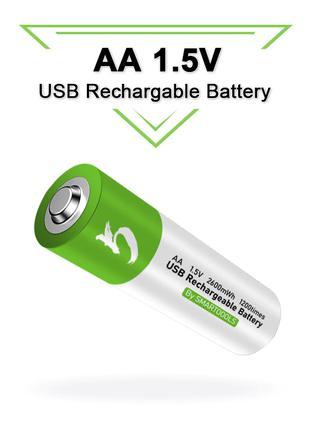 Аккумуляторы АА, 1,5 В, Li-Pol с зарядом от USB type-C