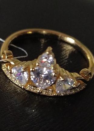 Кольцо 19р с фианитами, позолота 18к, медицинское золото