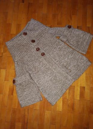Светр clockhouse свитер кофта пончо акриловий теплий шоколадни...