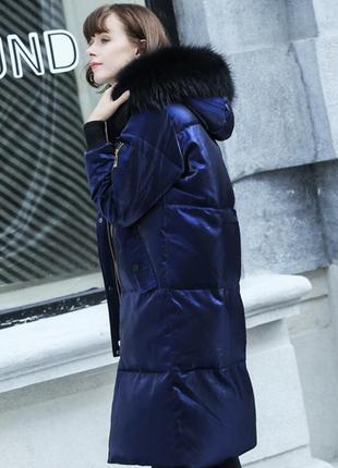 Куртка блеск синий пуховик зефирка блестящий с капюшоном длинн...
