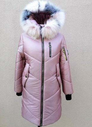 Зимнее пальто для девочек изготовлено из качественной плащевки.