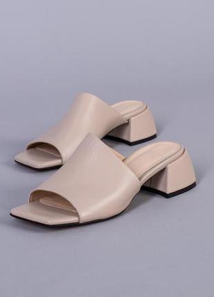 Женские кожаные шлепки на. каблуке