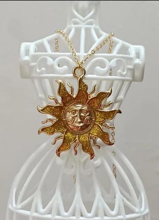 Ожерелье / подвеска солнце золотое/эмаль