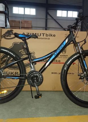 Спортивный велосипед Azimut Navigator 26 дюйма черно синий