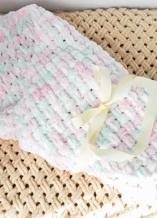 Детский вязаный плюшевый плед - конверт на выписку, одеяло ручная