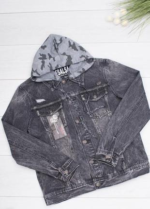 Мужская темно-серая джинсовая куртка с капюшоном