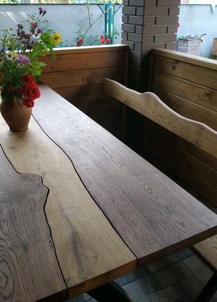 Столы и лавки дубовые а стиле лофт