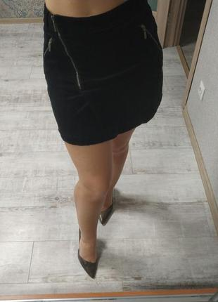 Стильная необычная вельветовая юбка