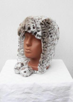Серая меховая теплая зимняя шапка ушанка с ушками