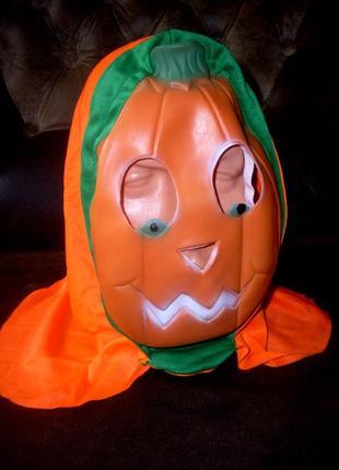 Маска резиновая с капюшоном тыква на хэллоуин или для маскарада