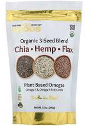Органічна суміш з насіння чіа, конопопель та льону, 340 гр