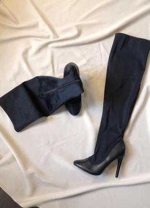 Ботфорты , сапоги-чулки на каблуке с комбинированного материала