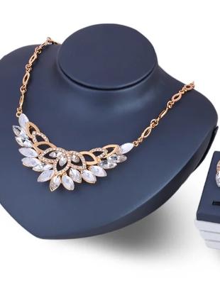 Набор украшений женский серьги и ожерелье с белыми камнями код...