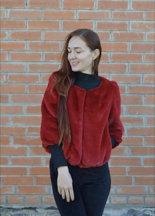 Пальто куртка пиджак шуба автоледи красный ❤️ цвет короткая эк...