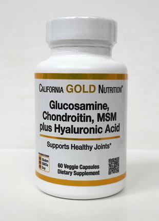 Глюкозамин, хондроитин, МСМ California Gold Nutrition, 60 капсул