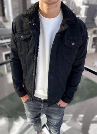 Джинсовый пиджак мужской черный джинсовка / джинсовий піджак к...