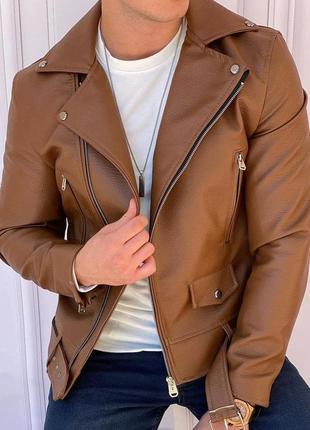 Косуха мужская коричневая / кожанка чоловіча кожаная куртка ку...