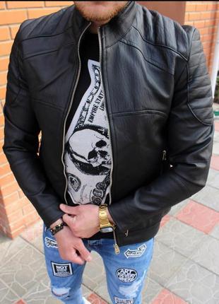 Кожанка мужская черная турция / кожаная куртка чоловіча курточ...