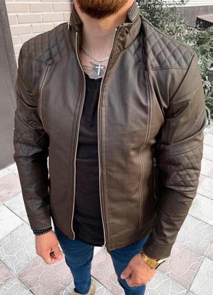 Кожанка мужская коричневая турция / кожаная куртка чоловіча ку...