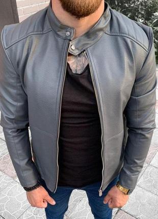 Кожанка мужская серая турция / кожаная куртка чоловіча курточк...