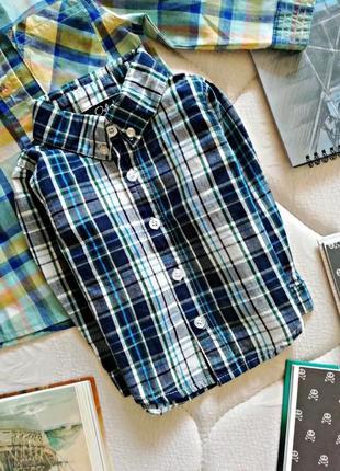 Детская хлопковая рубашка - сорочка в клетку для мальчика - во...