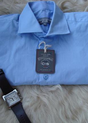 Рубашка мужская, c&s, италия голубая, закупка 20€