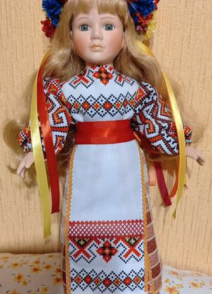 Кукла фарфор сувенир украинка 43 см