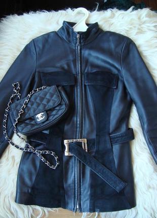 Женская кожанная куртка с замшевыми вставками